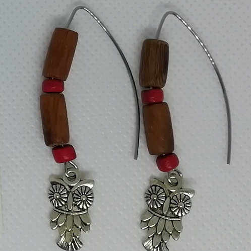 Earrings - Silver-Coloured Owl Wooden BeadsThistle