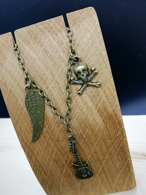 Necklace - Skull Crossbones Guitar Wing
