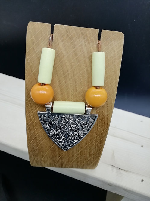Necklace - Silver Triangle Shield Orange Beads