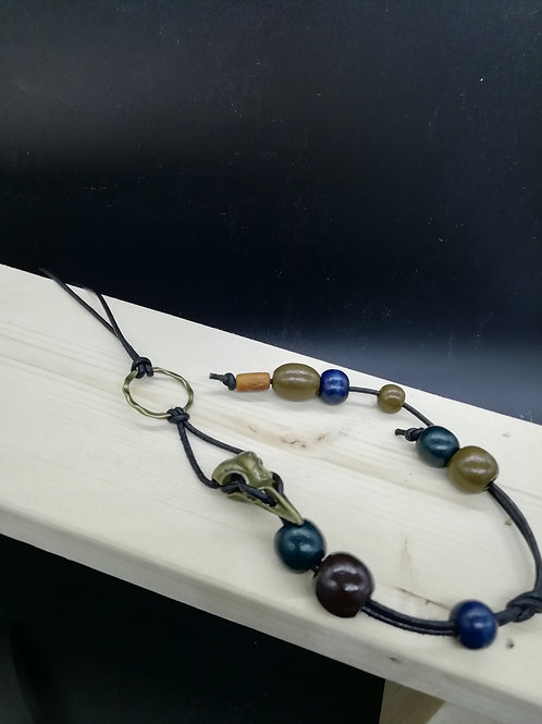 Necklace - Brown Beads Bird Skull