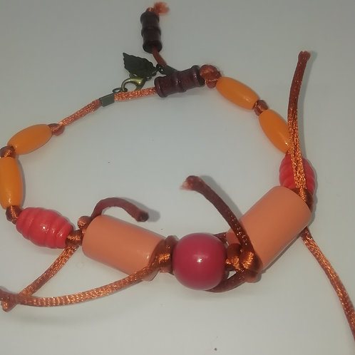 Bracelet - Beaded Orange Cord