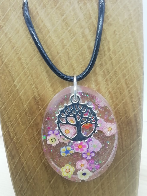 Necklace - Oval Flowers Tree Charm