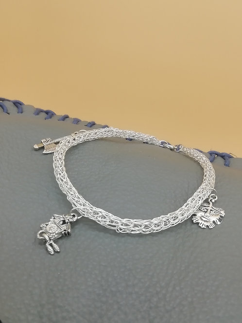 Viking Knit Wire Bracelet Large Green Mannit Wire Bracelet Medium Multiple Beads