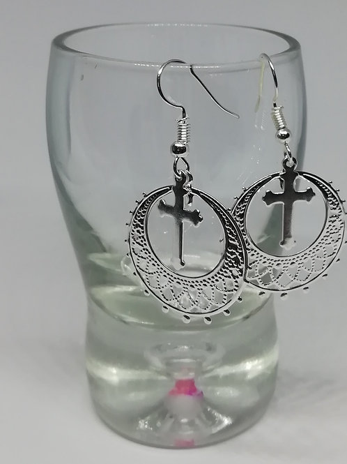 Earrings – Filigree Hoop and Cross