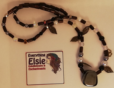 Necklace - Wooden Beads Obsidian Pendant