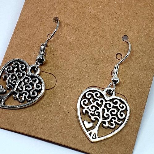 Earrings - Trees in Hearts