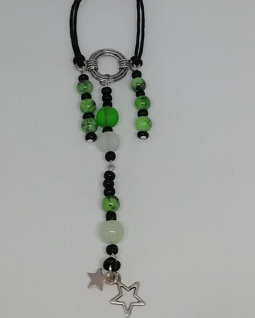 Necklace - Silver Green and White Pendant