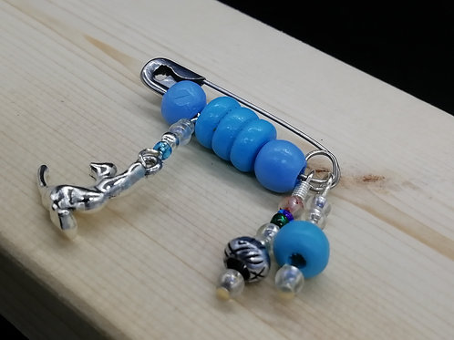 Brooch - Safety Pin Blue Beads Cat 003