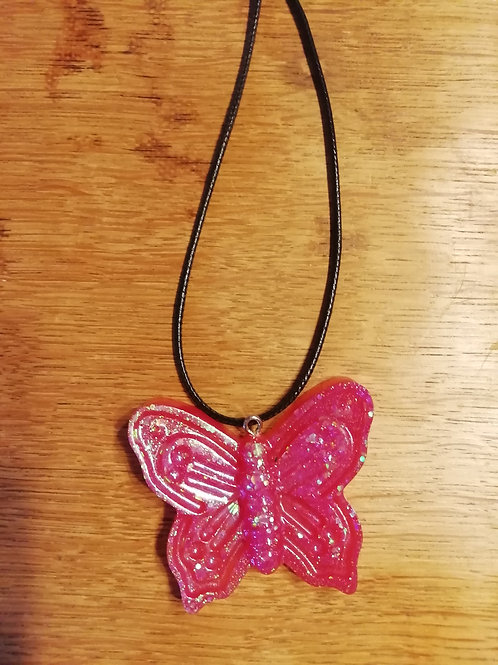Necklace - Large Pink Resin Butterfly