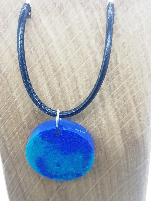 Necklace - Bright Blue Circle Resin Pendant
