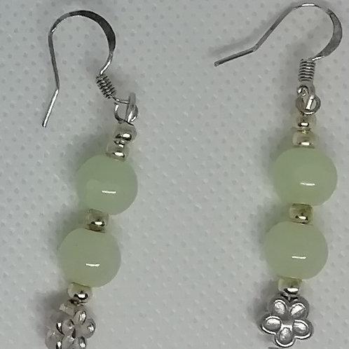 Earrings - Jade Bead and Silver Flower