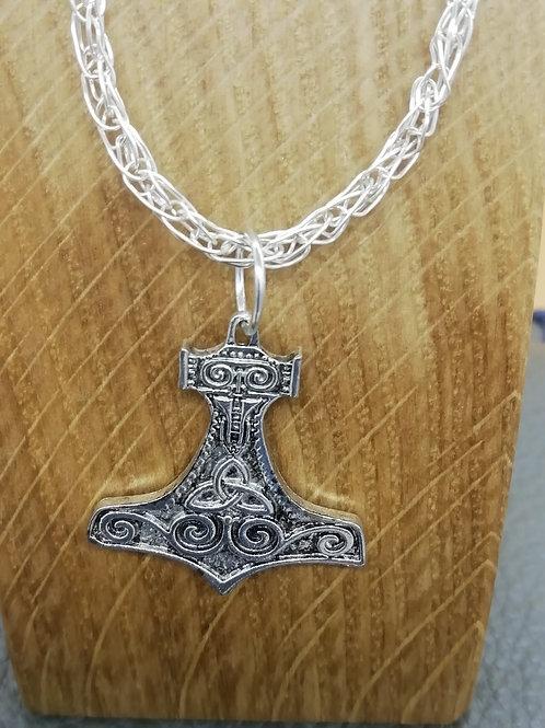Necklace - Thor's Hammer Pendant Viking Knit