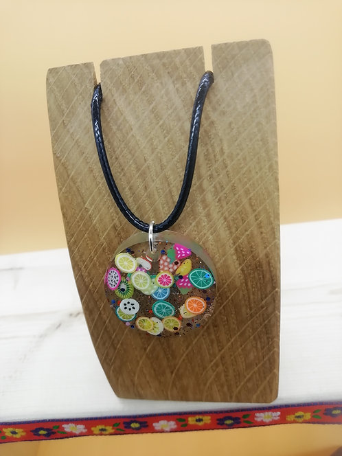 Necklace - Resin Circle Citrus Clear