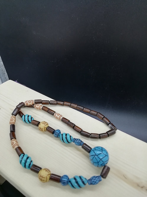 Necklace - Wood and Ethnic Beads