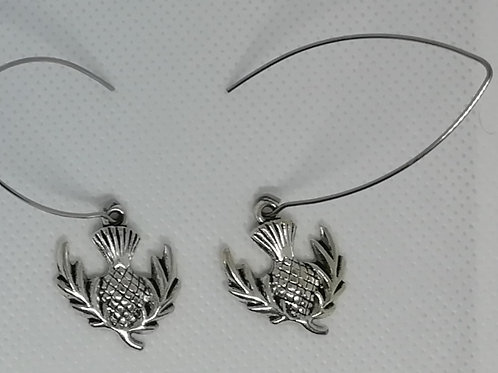 Earrings - Silver-Coloured Thistle