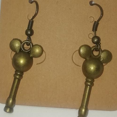 Earrings Antique Brass Key 016