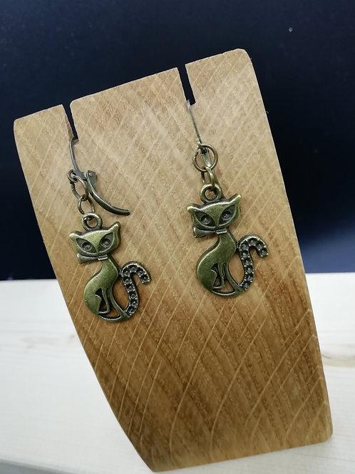 Earrings - Brass Cat Bow