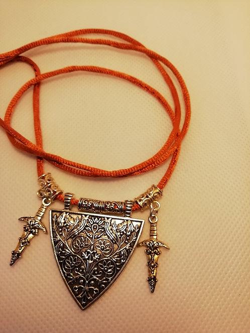 Necklace - Silver Triangle Daggers Orange Necklace
