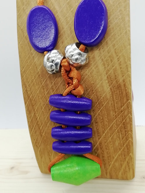 Necklace - Orange Purple Green Silver Knotted Long
