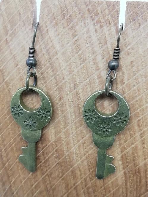 Earrings - Antique Brass Key 148