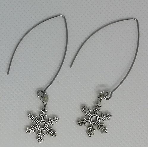 Earrings - Long Snowflakes