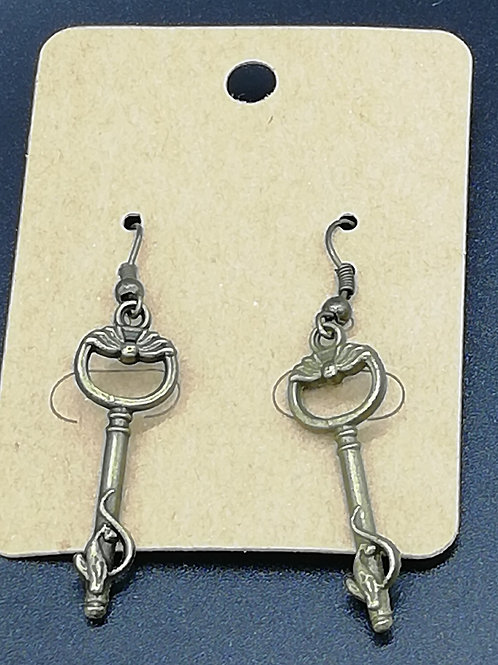 Earrings - Antique Brass Key 141