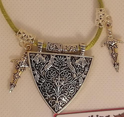 Necklace - Green, Silver Triangle Daggers