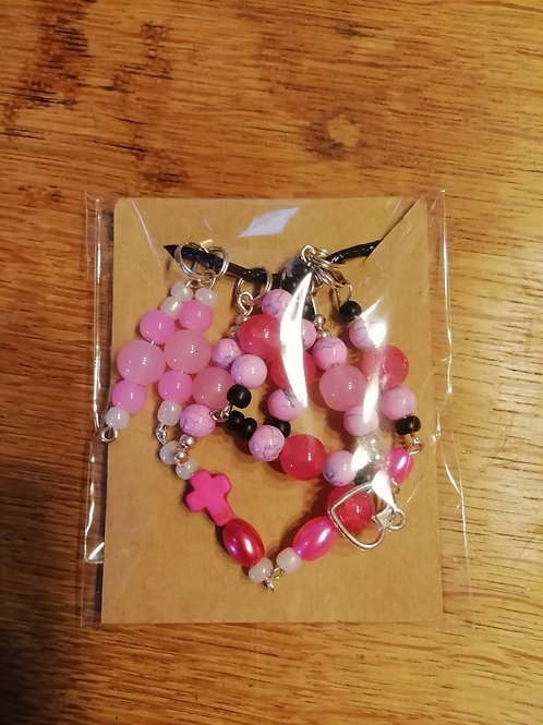 Necklace - Pink Bead Tassels