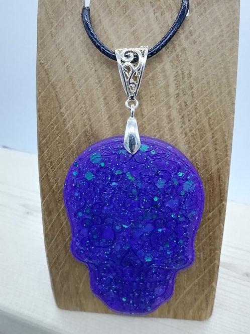 Necklace - Sugar Skull Purple Resin