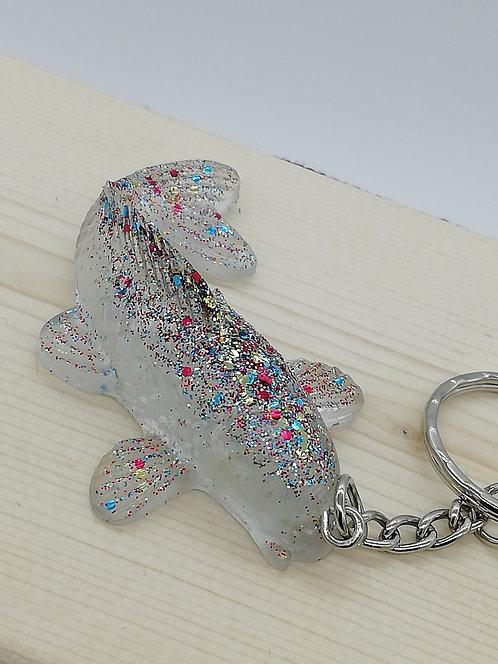 Keyring - Koi Goldfish Carp Fish Clear Glitter