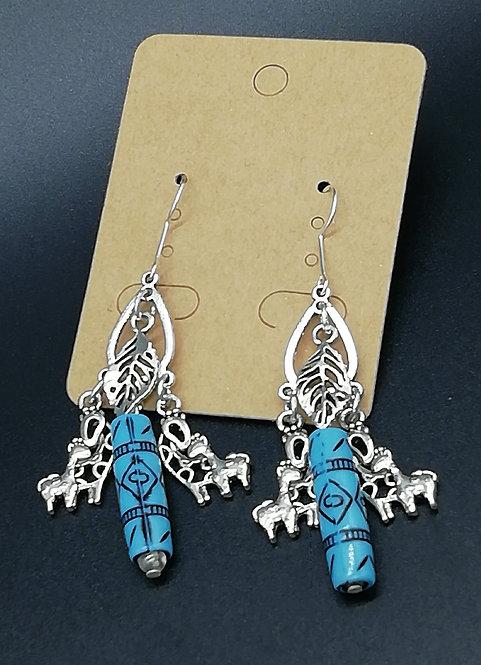 Earrings - Giraffe, Tribal Bead and Leaf