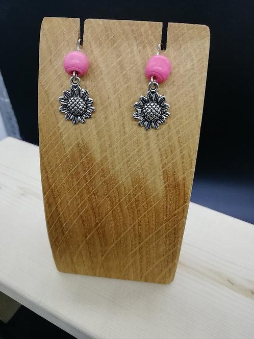 Earrings - Flowers Pink Beads