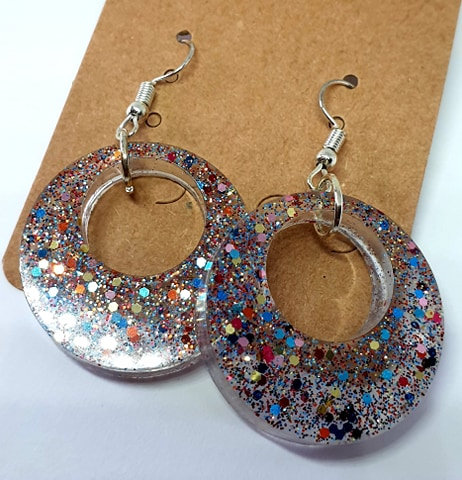 Earrings - Resin Transparent Glitter Circles