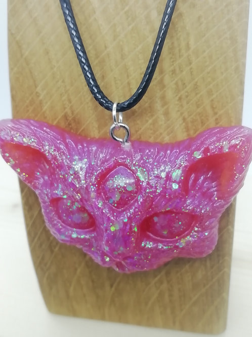 Necklace - Pink Resin Cat