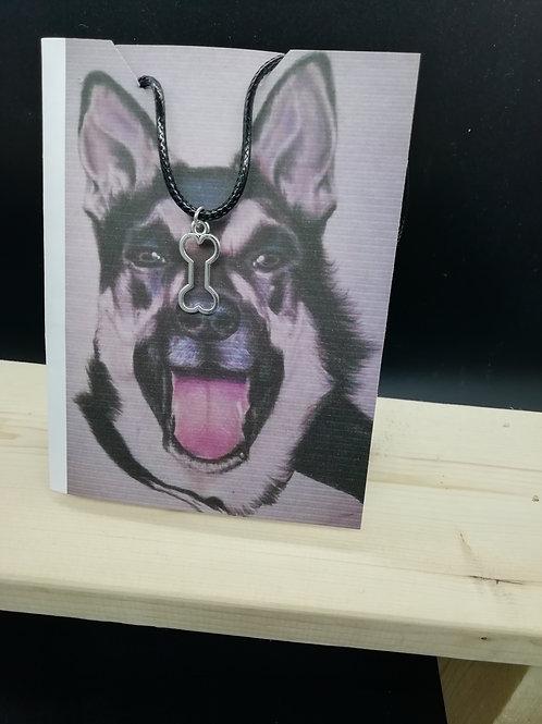 Card - Alsatian Dog, Bone Necklace