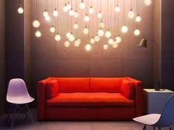 lights and sofa
