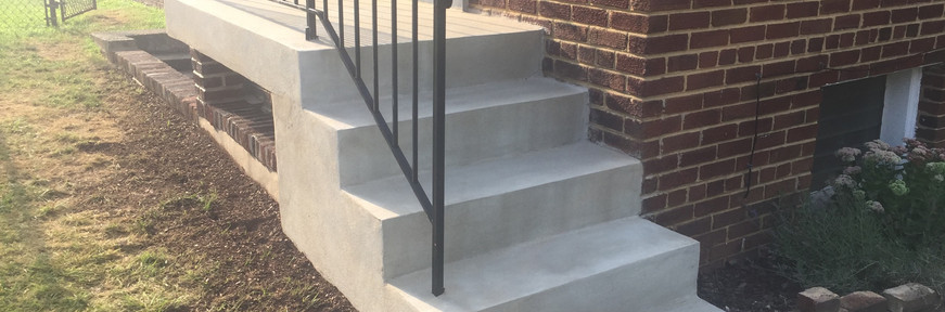 New concrete stair and landing