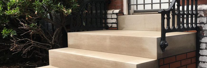 New front masonry stoop and steps