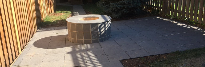 New masonry patio walkway and firepit