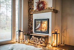 Warm home setting fireplace
