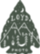 Loyd Photography arrowhead logo with mountains, trees, campfire, and hammock