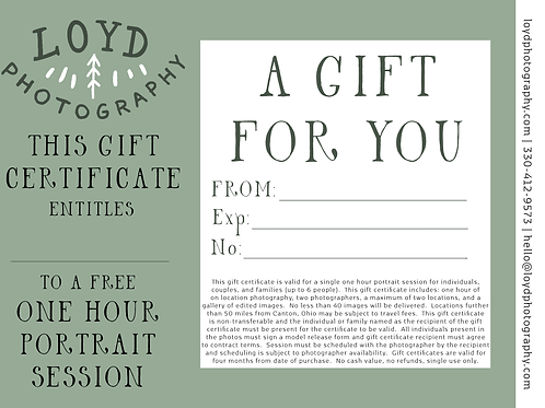 Gift Certificate for a One Hour Photography Session