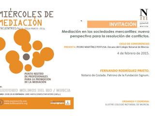 Ciclo Miércoles de Mediación: La mediación en los conflictos mercantiles