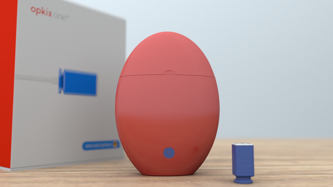 Opkix Egg with Product Box and Camera