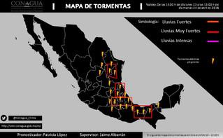 MAPA DE ÁREAS CON POTENCIAL DE TORMENTAS