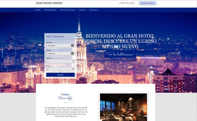 Sitio web de hotel