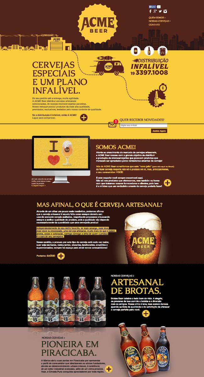 Captura de Pantalla del sitio web Cerveza Acme