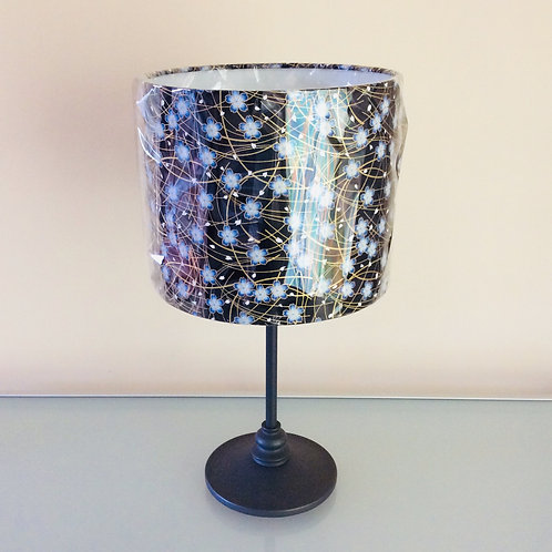 Lampshade, black/blue floral (2515)