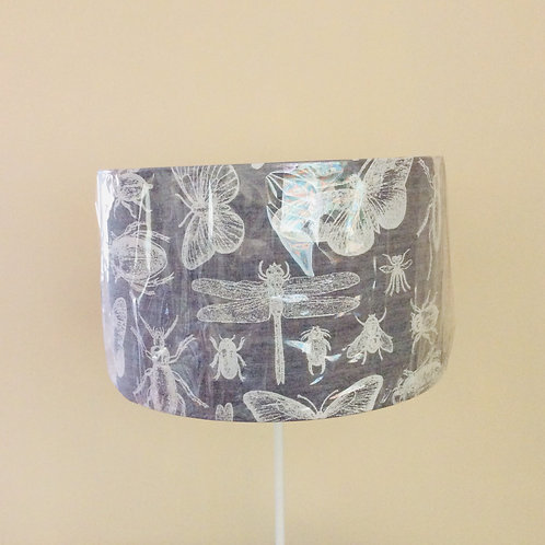 Lampshade, insects on grey (4023)