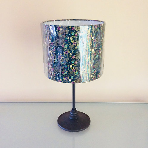 Lampshade, teal floral (2527)